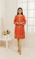 Crafted on khaddi net fabric this etheral rust embroidered kurta
