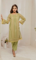 Stitched on organza fabric combine with rich embroidery and fine detailing on sleeve and dupatta