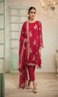 Crafted on fine chiffon fabric combine with rich embroidery and intricate detailing on sleeve and dupatta