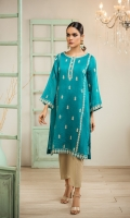 Crafted on cotton net fabric, with intricate embroidery on front shirt panel and subtle detailing on sleeves and daman