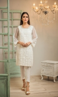 Crafted on Organza fabric this white embroidered kurta