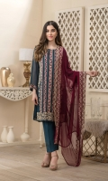 Embroidered Chiffon Front 1 meter Embroidered Daman For Front 1PC Embroidered Chiffon Back 1 meter Embroidered Daman For Back 1PC Plain Chiffon For Sleeves 0.6 yard Embroidered Sleeves Border Dyed Malai For Lining 2 yards Dyed Raw Silk For Trouser 2.5 yards Embroidered Chiffon Dupatta 2.5 yards