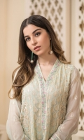 Embroidered Chiffon Front 1 meter Embroidered Daman For Front 1PC Embroidered Chiffon Back 1 meter Embroidered Daman For Back 1PC Embroidered Chiffon For Sleeves 0.6 yard Embroidered Sleeves Border Dyed Malai For Lining 2 yards Dyed Raw Silk For Trouser 2.5 yards Embroidered Chiffon Dupatta 2.5 yards