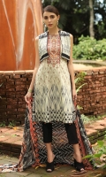 Embroidered Cambric Front 1.15M  Printed Cambric Back 1.15M  Printed Cambric Sleeves 0.65M  Printed Lawn Dupatta 2.50M  Dyed Cambric Trouser 2.00M