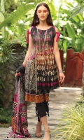 """""""Embroidered Cambric Front 1.15M  Printed Cambric Back 1.15M  Printed Cambric Sleeves 0.65M  Printed Lawn Dupatta 2.50M  Dyed Cambric Trouser 2.00M"""