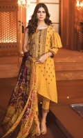 Embroidered Jacquard Front 1.15M Dyed Jacquard Back 1.15M Embroidered Jacquard Sleeves 0.65M Printed Silk Dupatta 2.5M Printed Cambric Trouser 2.5M Printed Cambric Lace 1M