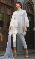 2.25M Embroidered Fabric 2M Dyed Inner 0.6M Embroidered Daman for Front on Organza 2.5M Printed Chiffon Dupatta 2.5M Dyed Raw Silk Trouser