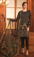 Embroidered Jacquard Front 1.15 M Dyed Jacquard Back 1.15 M Embroidered Jacquard Sleeves 0.65 M Printed Chiffon Dupatta 2.5 M Dyed Cambric Trouser 2.5 M