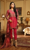 Embroidered Jacquard Front 1.15 M Dyed Jacquard Back 1.15 M Embroidered Jacquard Sleeves 0.65 M Printed Chiffon Dupatta 2.5 M Dyed Cambric Trouser 2.5 M Embroidered Organza Motifs for Daman