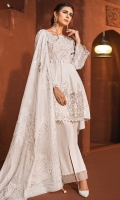 Embroidered Cambric Front 1.15M Printed Cambric Back 1.15M Embroidered Cambric Sleeves 0.65M Printed Lawn Dupatta 2.5M Dyed Cambric Trouser 2.5M Embroidered Organza Neckline Embroidered Oraganza Motifs for Sleeves Embroidered Organza Daman