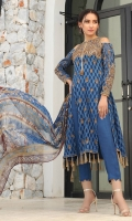 Embroidered Jacquard Front 1.15 M Jacquard Back 1.15 M Embroidered Jacquard Sleeves 0.65 M Printed Chiffon Dupatta 2.50 M Dyed Raw Silk Trouser 2.50 M Dyed Raw Silk Inner 2.00 M Embroidered Tiuuse Front Panel 1.00 Pcs