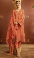 Embroidered Chenderi Front 1.15M Dyed Chenderi Back 1.15M Embroidered  Chenderi Sleeves 0.65M Cotton Net Embroidered Dupatta 2.5M Dyed Viscose Trouser 2.5M