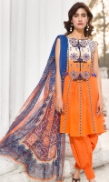 Embroidered Lawn Front 1.15Mtr Printed Lawn Back 1.15Mtr Printed Sleeves 0.65Mtr Printed Chiffon Dupatta 2.5Mtr Dyed Trouser 2Mtr Embroidered Tissue 1.5Mtr