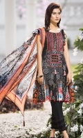 Embroidered lawn Front 1.15Mtr Printed Back 1.15Mtr Printed Sleeves 0.65Mtr Printed Chiffon Dupatta 2.5Mtr Dyed Trouser 2Mtr