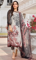 Embroidered Lawn Front 1.15Mtr Printed Lawn Back 1.15Mtr Printed Sleeves 0.65Mtr Printed Chiffon Dupatta 2.5Mtr Dyed Trouser 2Mtr Embroidery Tissue Border for Trouser 1Mtr