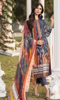 Embroidered Lawn Front 1.15Mtr Printed Lawn Back 1.15Mtr Embroidered Sleeves 0.65Mtr Printed Chiffon Dupatta 2.5Mtr Dyed Trouser 2Mtr Embroidered Tissue Border for Daman Embroidered Tissue for Neckline