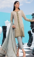 1.15M Embroidered Jacquard Front, 1.15M Dyed Jacquard Back. 0.65M Embroidered Jacquard sleeves, 2.5M Dyed Jacuqard Dupatta, 2M Dyed Trouser. Embroidered Tissue for Neckline