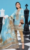 Embroidered Lawn Front 1.15 Mtr Printed Lawn Back 1.15 Mtr Embroidered Sleeves 0.65 Mtr Printed Silk Dupatta 2.5 Mtr Printed Trouser 2 Mtr