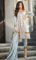 1.15M Woven Jacquard Front 1.15M Woven Jacquard Back 0.6M Woven Jacquard Sleeves 2.5M Woven Jacquard Dupatta 2.5M Dyed Trouser 4M Embroidered Border for Front and Sleeves on Organza 1-Pc Embroidered Neckline for Front on Organza