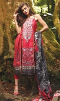 1.1 M Embroidered Front 1.1 M Printed Back 0.6M Printed Sleeves 2.5M Printed Lawn Dupatta 2.5M Dyed Trouser