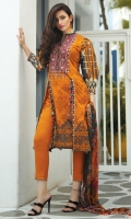 1.1M Embroidered Front 1.1M Printed Back 0.6M Printed Sleeves 2.5M Printed Chiffon Dupatta 2.5M Dyed Trouser