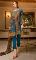 2.25M Printed Chamray Emb Front Motif and 2.5M Emb Lace 2.5M Chiffon Printed Dupatta 2.5M dyed Trouser