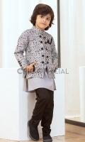 Jacket Fabric : Embroidered Trignmetry Pattern Cotton Polyster Fabric Pants: Wash and wear fabric with straight cut pants Shirt : Cotton Textured Fabric