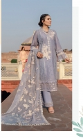 Embroidered Schiffli Lawn Center Panel For Front = 1.15 meters Embroidered Schiffli Lawn Back And Side Panel = 1.60 meters Embroidered Schiffli Lawn Sleeves = 0.65 meter Dyed Cotton Trouser = 2.5 meters Embroidered Cotton Net Dupatta = 2.5 meters Embroidered With Mirror Work Organza Border For Dupatta and neck line 8 meters Embroidered With Mirror Work Organza Border For Front Hem = 0.75 meter 2 Embroidered Organza Patches