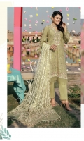Embroidered Schiffli Lawn Front = 0.75 meter Embroidered Schiffli Lawn Back = 0.75 meter Embroidered Schiffli Lawn Sleeves = 0.65 meter Dyed Cotton Trouser = 2.5 meters Net Dupatta With Embroidery And Mirror Work = 1.65 meters Embroidered Net Dupatta Pallu Pair Embroidered Organza Patti For Neckline = 1 meter Embroidered Organza Border For Front Hem = 1 meter