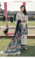 Embroidered Schiffli Lawn Front = 0.65 meter Embroidered Schiffli Lawn Back = 0.75 meter Embroidered Schiffli Lawn Sleeves = o.65 meter Dyed Cotton Trouser = 2.5 meters Side panel = 0.35 meter Pure Chiffon Digital Printed Dupatta = 2.5 meters 2 Embroidered Organza Patches For Sleeves Embroidered Organza Border For Neckline And Trousers = 1 meter