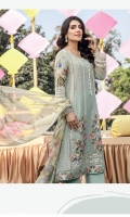 Embroidered Schiffli with Mirror Work Lawn Front = 0.65 meter Digital Printed Lawn Back = 1.25 meters Digital Printed Lawn Sleeves = 0.65 meter Dyed Cotton Trousers = 2.5 meters Embroidered Schiffli Lawn Panel= 0.35 meter Pure Chiffon Digital Printed Dupatta = 2.5 meters Embroidered Organza Border For Sleeves = 1.25 meters Embroidered Silk Border For Front Hem = 1 meter