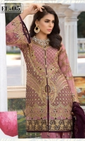 Embroidered chiffon front back and sleeves chiffon duppata embroidered front back daman patch grip troser and accessories