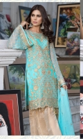 Embroidered chiffon front back and sleeves chiffon duppata jamawar troser and accessories