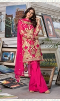 Embroidered chiffon front back and sleeves chiffon duppata embroidered daman patch grip troser and accessories