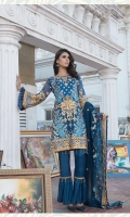 Embroidered chiffon front back and sleeves Embroidered chiffon duppata Embroidered daman patch grip Trouser and accessories