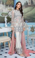 Embroidered Net Hand Made Front And Sleeves Embroidered Back Embroidered Chiffon Dupatta Embroidered Hand Made Front Patch Embroidered Back And Trouser Patch Grip Trouser & Accessories