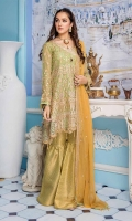 Embroidered Chiffon Front Back Sleeves And Dupata. Embroidered Front Back Daman Patch Jamawar Trouser & Accessories