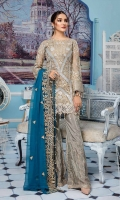 Embroidered Masoori Front Back And Sleeves Embroidered Chiffon Dupatta Embroidered Front Back Daman Patch Embroidered Grip Trouser & Accessories