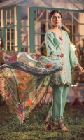 Three Pcs Superior Quality Pima Embroidered Lawn with Chicken Kari Work and Pure China Chiffon & Pure China Silk Dupattas along with Embroidery Patches