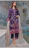 Embroidered Self Linen Front 1.15 MTR  Embroidered Self Linen Back 1.15 MTR  Embroidered Self Linen Sleeves 0.75 MTR  Embroidered Neck Patti on Silk 2 MTR  Embroidered Trousers Patti on Silk 1.25 MTR  Multihead with Boring Border on Organza 2.25 MTR  Yarn Dyed Woolen Shawl with Embroidery 2.5 MTR  Dyed Linen Trousers 2.5 MTR