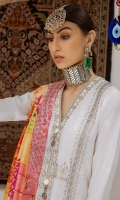 Embroidered Front Center Panel (Pima Lawn) 0.33 Meter Embroidered Front Right Panel (Pima Lawn) 0.33 Meter Embroidered Front Left Panel (Pima Lawn) 0.33 Meter Embroidered Back Center Panel (Pima Lawn) 0.33 Meter Dyed Back Side Panels (Pima Lawn) 0.66 Meter Embroidered Sleeves (Pima Lawn) 0.66 Meter Embroidered Hem Border (Pima Lawn) 2 Meters Digital Printed Duppata (Medium Silk) 2.5 Meters Embroidered Trouser Patch (Pima Lawn) 1 Pair Dyed Trouser (Cambric) 2.5 Meters