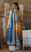 Embroidered Front (Pima Lawn) 0.66 Meter Embroidered Front Left+Right Side Extention (Pima Lawn) 0.33 Meter Embroidered Back Center Panel (Pima Lawn) 0.33 Meter Dyed Back Left+Right Side Extention (Pima Lawn) 0.66 Meter Embroidered Sleeves (Pima Lawn) 0.66 Meter Embroidered Front HEM Border (Pima Lawn) 1 Piece Embroidered Sleeve + Back HEM Border (Pima Lawn) 2 Meters Embroidered Dopatta (Swiss Voile) 2.5 Meters Embroidered Dopatta Pallu Patti (Swiss Voile) 2 Meters Dyed Trouser (Cambric) 2.5 Meters