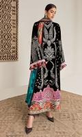 Embroidered Front (Velvet) 1.3 Meters Embroidered Sleeves (Velvet) 1.3 Meters Embroidered Sleeve Border (Satin) 1.3 Meters Embroidered Front Border (Satin) 1 Meter Dyed Back (Velvet) 1.3 Meters Dyed Trouser (Raw Silk) 2.5 Meters Digital Printed Dupatta (Medium Silk) 2.5 Meters