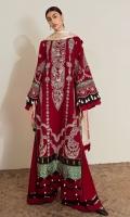 Embroidered Front (Khaddar) 1.3 Meters Embroidered Sleeve (Khaddar) 1.3 Meters Embroidered Front HEM (Satin) 1 Meter Embroidered Front & Back Border (Satin) 2 Meters Dyed Back (Khaddar) 1.3 Meters Dyed Trouser (Khaddar) 2.5 Meters Digital Printed Dopatta (Medium Silk) 2.5 Meters