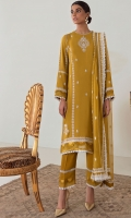 A luscious ochre serves as the canvas for 'Colza.' A blend of gorgeous florals and ornamental embroideries are laid out in accents of cream along with layered scallop detailing. Paired with a beautifully embroidered and bordered dupatta and a tonal trouser, this enticingly versatile design is classically luxurious!