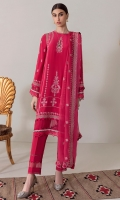 A bold raspberry hue is enlivened with delicate silver embroidery depicting flora in bloom in 'Rose Neon.' Paired with a narrow trouser with peekaboo insets and an embroidered diaphanous dupatta this is a striking look for evening do's.