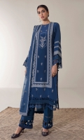 Ivory floral and ornamental embroideries make a tasteful composition on a faded royal blue canvas in 'Saphir.' Edged with delicate sheer lace and pleated details this elegant kurta is paired with an tonal embroidered organza dupatta fully bordered by lace and long straight trousers with cutwork cuffs.