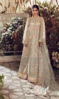 EMBROIDERED FRONT (ORGANZA) 1 PIECE EMBROIDERED FRONT SIDE PANELS (LEFT+RIGHT) (ORGANZA) 1 PAIR EMBROIDERED BACK (ORGANZA) 1 METER EMBROIDERED SLEEVES (ORGANZA) 2 PIECES EMBROIDERED DUPATTA (ORGANZA) 2.64 METERS EMBROIDERED DUPATTA PALLU (SATIN) 8 METERS EMBROIDERED CREW PATTI (ORGANZA) 0.66 METER EMBROIDERED FRONT+BACK BORDER (SATIN) 2 METERS EMBROIDERED FRONT BORDER (ORGANZA) 1 METER EMBROIDERED SLEEVE BORDER (SATIN) 1.3 METERS EMBROIDERED NECK PATCH (SAITN) 1 PIECE DYED INNER SLIP (RAW SILK) 2 METERS DYED TROUSER (BAMBER RAW SILK) 2.5 METERS