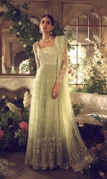 A floor length, gathered pishwas is deliciously rendered in minty green cobweb tulle and exquisitely adorned with minute climbing floral thread work. Lavishly scattered with seed pearls, this illuminating ensemble is the perfect dainty and feminine look for summer weddings.