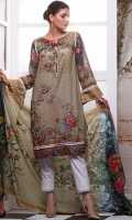 Shirt front with Pearls & Beads  Digital Printed Lawn Shirt: 2.8 metre Digital Printed Lawn Dupatta: 2.5 yards Cambric Printed Trouser: 2.5 yards